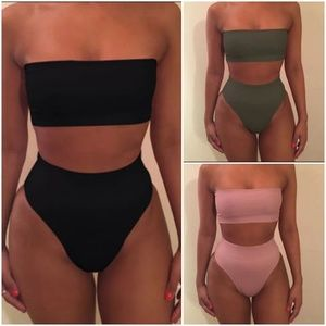 New! Strapless high waisted bikini swimsuit